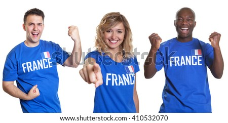 Set of three cheering sport fans from France