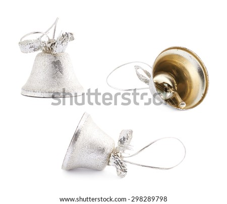 Set of three Christmas decoration silver bells isolated over the white background - stock photo
