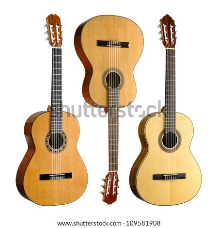 Set of three classical or spanish acoustic guitars, isolated on white background - stock photo