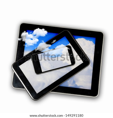 Set of three computer devices with clouds illustration - stock photo