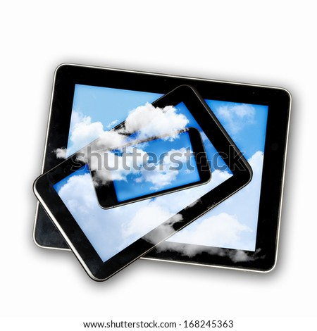 Set of three computer devices with clouds illustration
