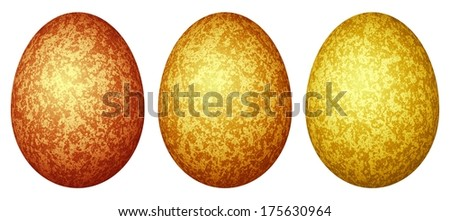 Set of three decorative colored Easter eggs (red, orange, yellow) with different golden abstract patterns, isolated on the white background. - stock photo