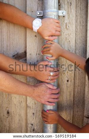 Set of Three Female Hands - stock photo