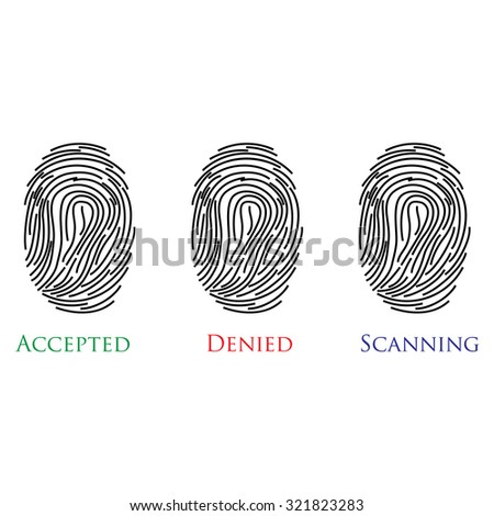 Set of three fingerprints with text accepted, denied, scanning raster illustration