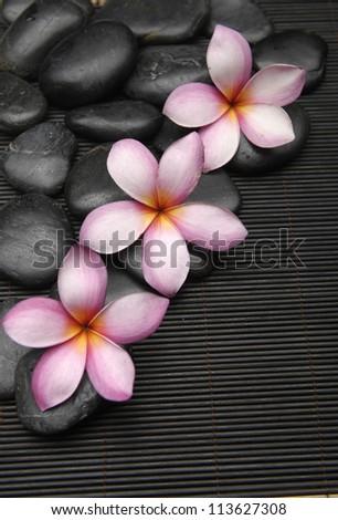 Set of three frangipani with zen stones on mat - stock photo