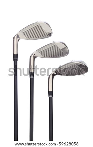 Set of three Golf Irons  on a white background with reflection. - stock photo