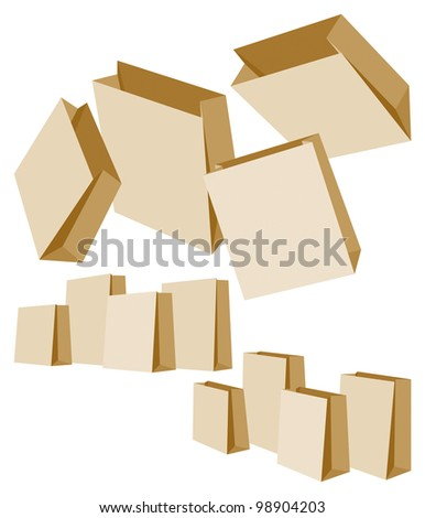 Set of Three Groups of Paper Bags on White Background. Rasterized Version