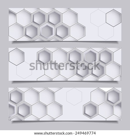 Set of three horizontal banners with hexagons. Geometric shapes. Abstract geometric background for web design with place for text. - stock photo