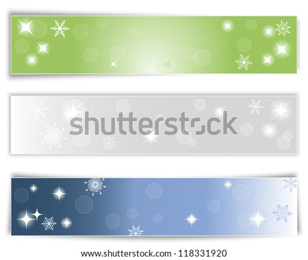 Set of three horizontal Christmas banners with different shadows. Raster version.