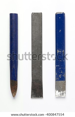 Set of Three Iron Chisel isolated on White Background. Top View of Vintage Construction Tools with Copy Space for Tex or Image. Real Shadow