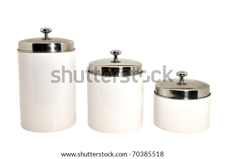 Set of three kitchen canisters isolated on white background with clipping path. - stock photo