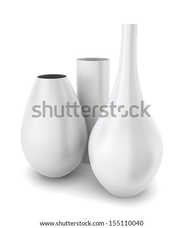 Set of three modern vases. 3d illustration on white background  - stock photo