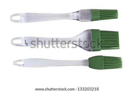 Set of three pastry brushes isolated on white - stock photo