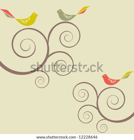 Set of three retro style birds on swirly trees