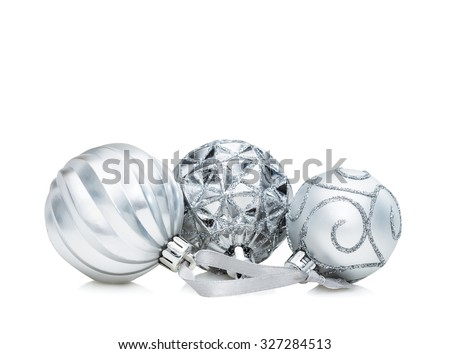 Set of three silver Christmas balls decoration isolated on white background