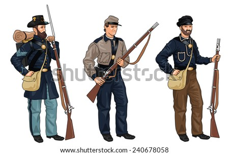 Set of Three Soldiers in Uniforms from American Civil War on White Background