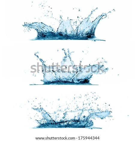 Set of three water splashes isolated on white background - stock photo