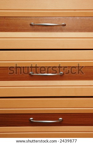 Set of three wooden drawers - stock photo