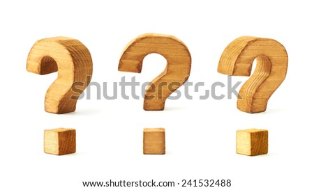 Set of three wooden question mark symbols in different foreshortenings isolated over the white background - stock photo