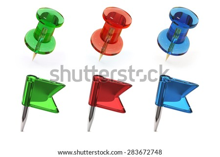 Set of thumbtacks and flag pins  - stock photo