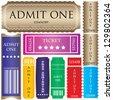 set of ticket admit one - stock photo