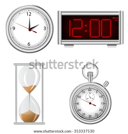 Set of time measurement instruments icons - stock photo