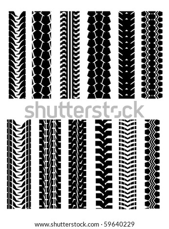 Set of tire shapes isolated on white for design. Vector version also available in gallery - stock photo