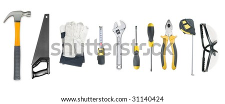 Set of tool isolated on a white - stock photo