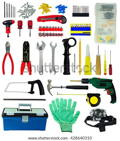Set of tools and construction implements isolated on white background - stock photo