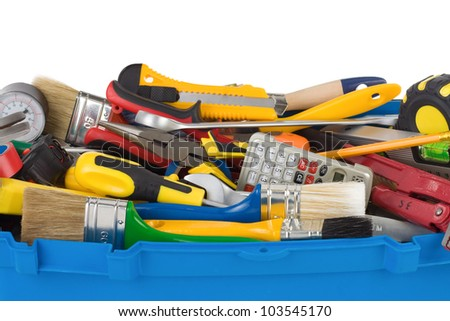 set of tools and instruments in box isolated on white background - stock photo