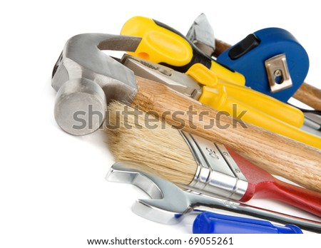 set of tools and instruments isolated on white background - stock photo