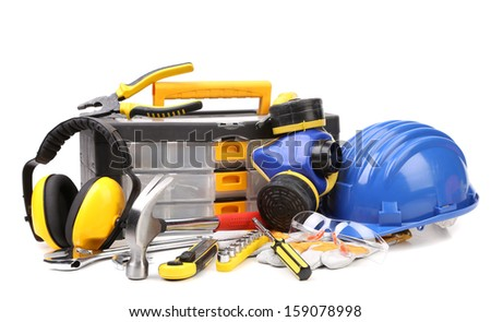 Set of tools and instruments with toolbox. Isolated on a white background - stock photo