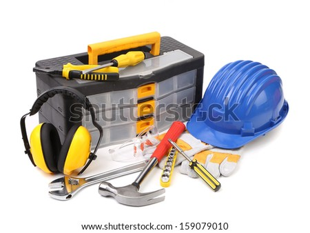 Set of tools and instruments with toolbox. Isolated on a white background