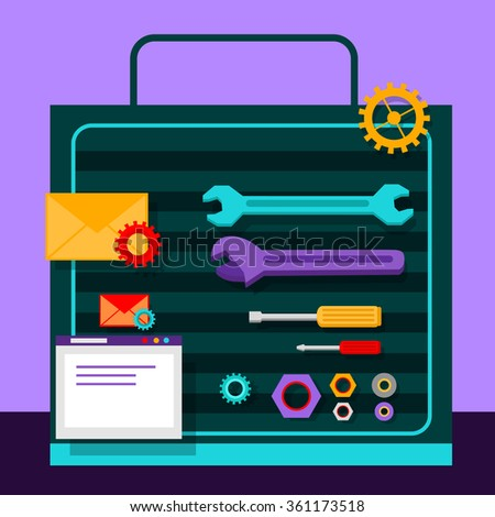Set of tools for seo flat design. Web technology seo, website, page optimization, content and gear, screwdriver and wrench, nuts and washers, envelope and pinion illustration. Raster version - stock photo