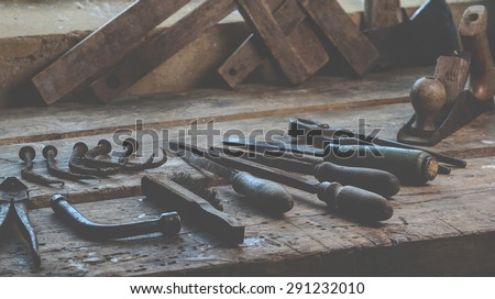 Set of tools for the carpenter - stock photo