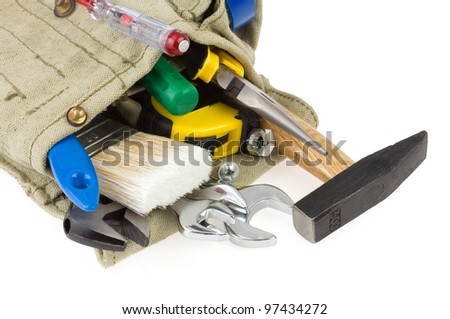 set of tools in belt bag isolated on white background