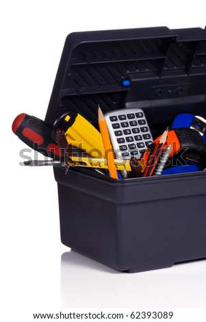 set of tools in black plastic box - stock photo