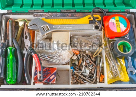 set of tools in box  - stock photo