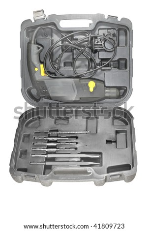 Set of tools in the box under the white background