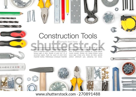 set of tools on white background top view - stock photo
