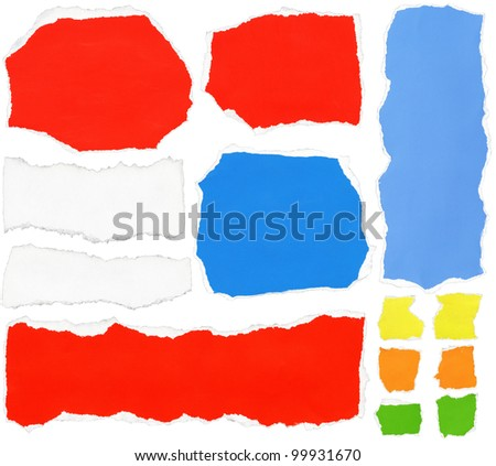 Set of torn colorful paper - stock photo