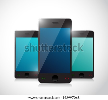 Set of touchscreen smartphones isolated on white background - stock photo