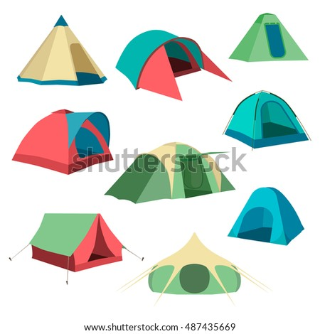 Set of tourist tents. Collection of c&ing tent icons. Graphic illustration  sc 1 st  Shutterstock & Set Tourist Tents Collection Camping Tent Stock Illustration ...