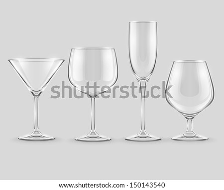 set of transparent glass goblets . Rasterized illustration.  - stock photo