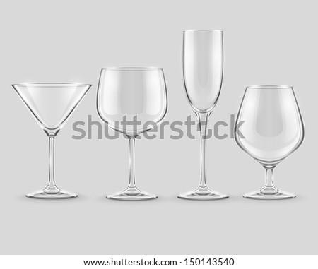 set of transparent glass goblets . Rasterized illustration.  - stock photo