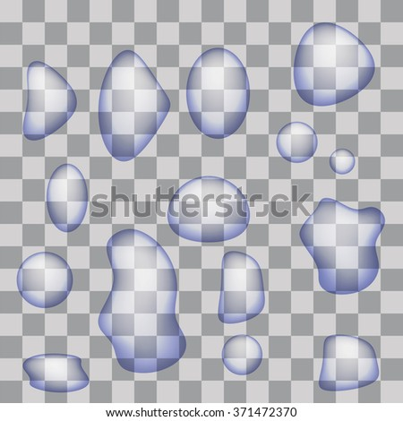 Set of Transparent Water Drops - stock photo
