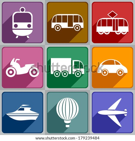 Set of transport icons of different color.  - stock photo