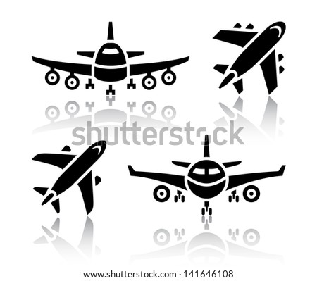 Set of transport icons - Plane - stock photo