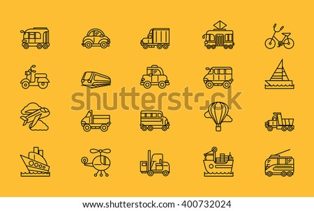 Set of transport thin, lines, outline, strokes icons. Different kinds of transport airplane bicycle train automobile, balloon ship sailboat black on yellow. For web mobile applications  - stock photo