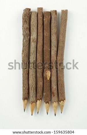 set of tree branch stylized pencils. isolated on white background - stock photo